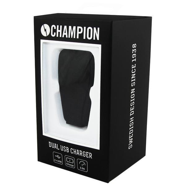 Champion Dual USB Laddare 230V 2A Väggadapter Svart