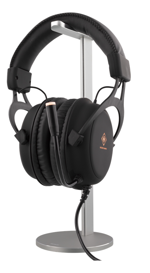 Hörlursstativ headset aluminium silver