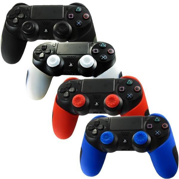 Silikon skal för PS4 kontroller + 2 Thumb Grips för extra grepp