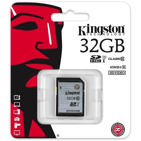 Kingston minneskort, SDHC, 32GB, UHS-I Class 10, 45MB/s