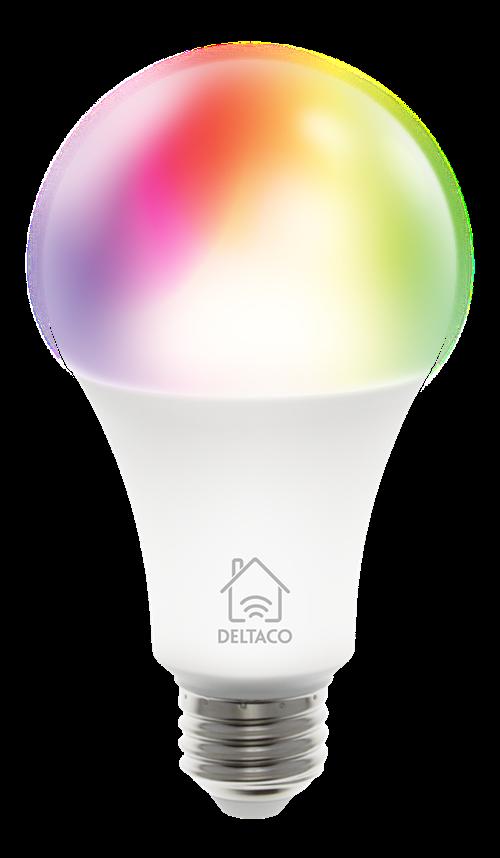 DELTACO SMART HOME RGB LED-lampa, E27, WiFI, 9W, 16milj färger, vit