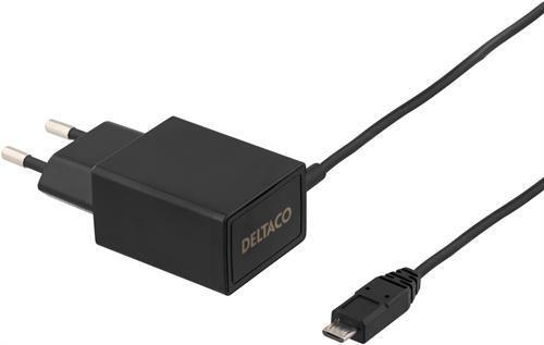 Väggladdare 230V till 5V USB, 2,1A, 1m, svart