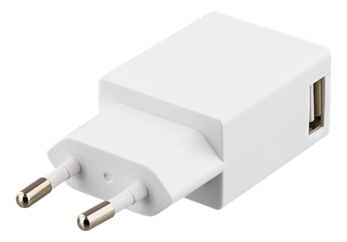 DELTACO Väggladdare 100-240V till 5V USB, 1A, 1xUSB-port, vit
