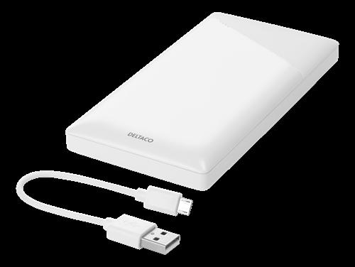 DELTACO 10 000 mAh powerbank, 2x USB-A, 2.1 A - Vit